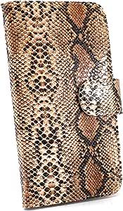 白色边框手机保护壳翻盖式蛇纹 棕色 3_ Galaxy S8 SC-02J Samsung