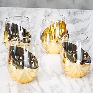 MyGift Modern Stemless 酒杯,4 件套 黄铜色 KIT1747BAS-X4
