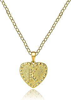 女儿儿子送给妈妈的礼物小金首字母心形项链 14K 镀金字母手工可爱精致个性化字母心形颈链项链女士项链首饰