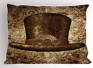 维多利亚带枕套 ambesonne 蒸汽朋克帽子 Fantasy 科幻概念金属铜 GEARS cogs 印花装饰性标准尺码印花枕套棕色沙棕色