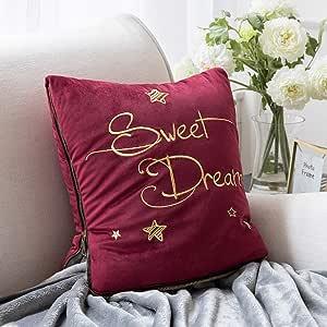 Ashler 装饰毛绒天鹅绒纯色方形抱枕套 深红色 60 X 80 inches BZB-Pillow cover-9