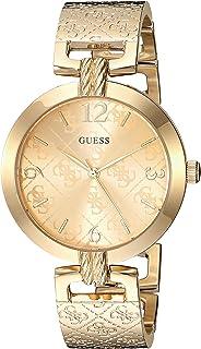 GUESS 金色不锈钢标志手镯手表,带自调节链环。颜色:金色(型号:U1228L2)