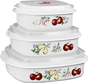 Corelle Coordinates by Reston Lloyd 6-Piece Microwave Cookware, Steamer and Storage Set, Chutney