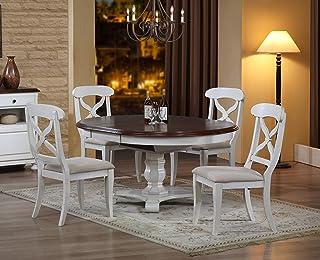 Sunset Trading Andrews 餐桌套装,复古白色带做旧栗色桌