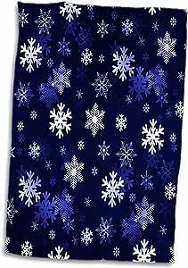 3D Rose 深蓝色冬季圣诞雪花无缝图案手巾,38.10 cm x 55.88 cm,多色