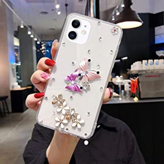 iPhone 11 手机壳,3D 手工钻石水晶蝴蝶花朵水钻闪亮透明软橡胶凝胶 TPU 后盖保护套适用于 iPhone 11 6.1 英寸硅胶手机壳