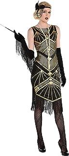 Party City Roaring 20 年代飞来波女郎万圣节服装,黑色/金色,包括连衣裙和头带