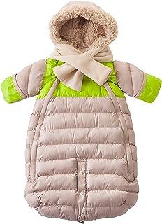 7AM Enfant Doudoune 连体婴儿防雪服套装,米色/荧光绿,大号