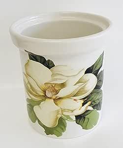 意大利制造:白色陶瓷葡萄*桶带美丽的白色玉兰花瓶 带支架:13.97 cm x 15.24 cm 高