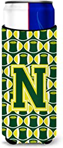 Caroline's Treasures CJ1075-MTBC Letter M Football Green and Yellow Tall Boy Koozie Hugger, Multicolor