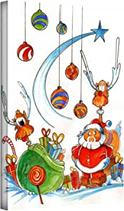 ArtWall Luis Peres 'Santa Claus Gang' Gallery-Wrapped Canvas Artwork, 24 by 32-Inch