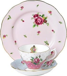 Royal Albert 40034973 现代复古混合茶杯,茶碟,盘子 20 厘米 3 件套俏皮粉色、波尔卡蓝和 NCR 白色,细骨瓷器