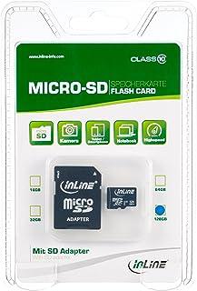 InLine 35055I MicroSDXC 存储卡 带 SD 适配器,等级 10/U3,128GB,黑色