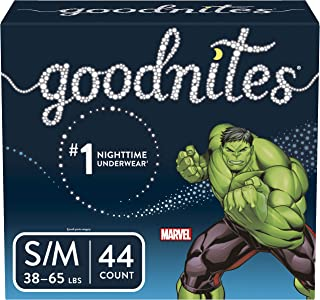 GoodNites 男童纸尿裤拉拉裤夜安裤, 小号/中号, 44 个