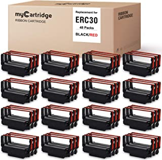 myCartridge 48 包 ERC30 ERC-30 ERC 30 34 38 B/R 兼容带状盒适用于 ERC38 NK506(黑红色)