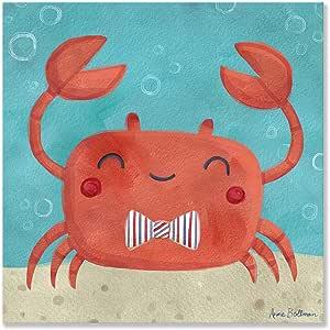 "Oopsy Daisy Fine Art for Kids Let's Set Sail Crab 帆布墙体艺术 Anne Bollman 出品 14 x 14"" NB21635"