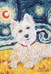 Toland Home Garden Van Growl Westie 12.5 x 18 Inch Decorative Puppy Dog Portrait Starry Night Garden Flag