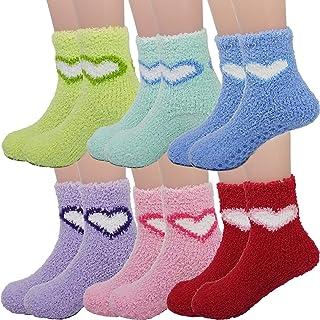 Fuzzy 儿童袜防滑拖鞋袜,6 双