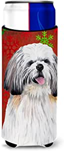 Shih Tzu Red and Green Snowflakes Holiday Christmas Michelob Ultra Koozies for slim cans SC9423MUK 多色 Slim