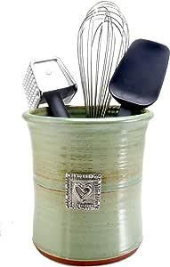 Crosby & Taylor Hearts Stoneware Utensil Crock, Pistachio Glaze
