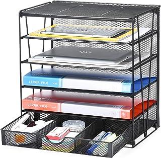 Samstar 5 层纸信箱托盘,桌面文件整理盒,纸张分类架,带滑动抽屉,黑色