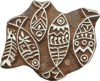 鱼图案手工雕刻木印刷块纺织品印章木制棕色积木 棕色 PB3578A