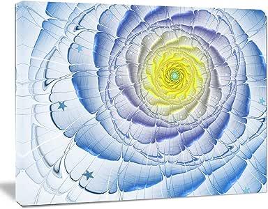 "Fractal Flower 浅棕色数字艺术大花画布墙体艺术 蓝色 12"" H x 20"" W x 1"" D 1P PT11813-20-12"