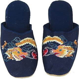 手工刺绣龙中国女式棉拖鞋