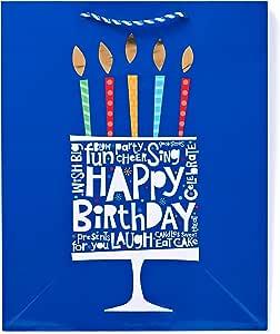 American greetings 生日礼品袋生日快乐 TO YOU 和鲜花中号–粉红色 Cake with Birthday Lettering 大