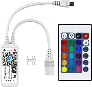 智能 WiFi RGB/GRB LED 控制器,兼容 Alexa/Google Assistant,适用于 5050/3528 LED 条形灯,具有 24 键远程控制,支持安卓 iOS 系统