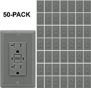 AH Lighting GFCI 插座 20A 标准装饰防篡改双工插座带 LED 指示灯,接地故障电路干扰器,Safelock 保护,UL 认证,灰色 50 件装