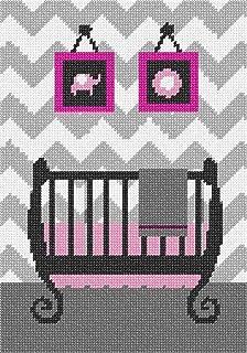 pepita Grey Chevron 女婴婴儿床针刺画布 Canvas & Thread 11274