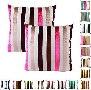 "Queenie - 2 件绳绒条纹装饰枕套沙发靠垫套提供 15 种颜色和 5 种尺寸 048 20"" x 20"" (50 x 50 cm) COMIN16JU019881"
