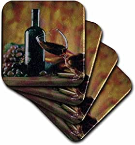 3dRose cst_36496_1 Glass of Wine in Napa-Soft Coasters, Set of 4