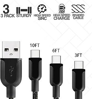Klaz USB C 型电缆(3 件装)快速充电数据同步线:91.44 cm、182.88 cm、3.04 m、3.04 m 尼龙编织、Kink & Tangle Free Android 智能手机、平板电脑、任天堂(黑色) 黑色