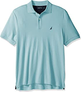Nautica 男士经典柔软棉质纯色短袖Polo衫,Harbor Mist,3XLT Tall