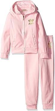 Juicy Couture 小女童幼童 2件套 丝绒连帽外套和裤子套装,浅粉色,3T