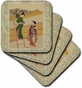 florene 亚洲艺术–日本女式 ON 复古东方背景–杯垫