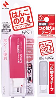 ニチバン tenori ハンコのり 強粘着タイプ 本体+替えお買い得パック 粉色