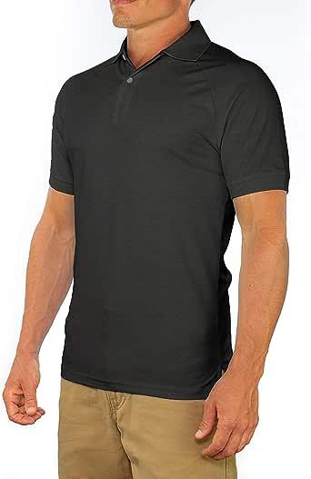 舒适领带男式完美修身短袖柔软修身 Polo 衫 炭灰色(Charcoal Gray) Large