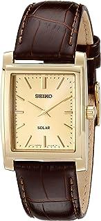 Seiko 精工 SUP896 男士手表,皮革表带,太阳能,金色,均码