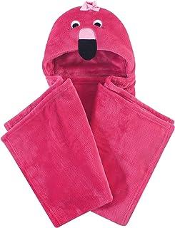Hudson Baby 中性款婴儿和幼儿毛绒连帽毛毯 粉色(Flamingo) 均码