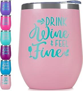 BOODVA 不锈钢酒杯带盖和吸管 340.19 克双层真空保温无钢圈旅行酒杯带标语定制个性化趣味短语雕刻马克杯 Pink T