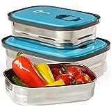 Bento 午餐盒食品容器收纳盒,3合1。 防漏不锈钢罐带盖。 Healthy Takeaway – 儿童 – 成人户外用餐。 赠送-享受趣味装饰贴纸。 不含双酚A