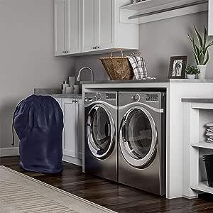Trademark Home 出品的重型洗衣袋-特大防撕裂尼龙篮内衬带拉绳,适用于宿舍、公寓、存储或旅行(黑色) 蓝色 82-5044BLU