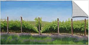 ArtWall Julie Peterson's Lavender In The Vineyard Removable Wall Art Mural, 12 x 24""