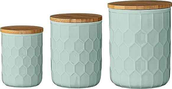 Bloomingville 陶瓷罐装,带竹子盖 薄荷绿 A21700007