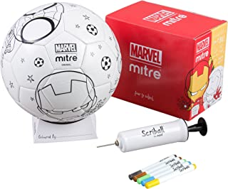 Mitre Kids' Ironman Scriball Personalisation Football with Colouring Pens, White, Size 3