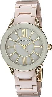 Anne Klein 女士 AK/2388TNGB 施华洛世奇水晶点缀金色和棕褐色陶瓷手链手表