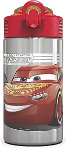 ZAK Designs 狗狗巡逻队不锈钢水瓶带翻盖吸管可重复使用 & 不含 BPA 15盎司 Cars 3 15.5oz
